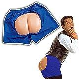 Short boxer bleu avec fausses fesses derrière short pantalon avec fesses cul shorts enterrement de vie de garçon short avec fesses enterrement de vie de célibataire pantalon rigolo