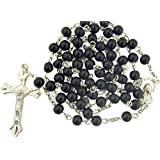 Black Glass Beads Rosary, 6mm Beads, Great for Men or Boys by CB