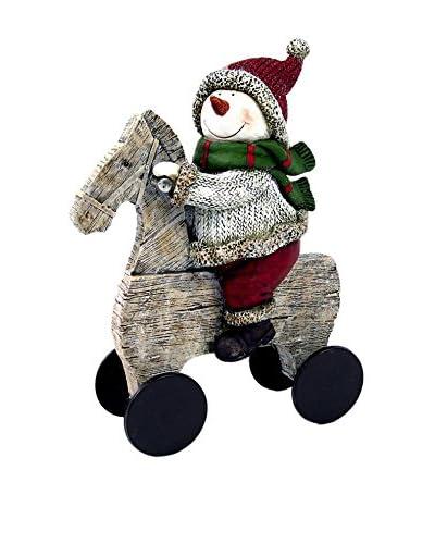 Figura Decorativa Muñeco De Nieve Caballo