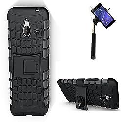 DMG Dual Hybrid Hard Grip Rugged Kickstand Armor Case for Microsoft Lumia 640 XL (Black) + Selfie Stick Monopod with Aux (No Battery Needed)