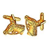 U7ファッションジュエリー カフスボタン 馬 ホース 動物 K18金/プラチナメッキ 高級感 パーティー ギフト メンズ[C1998]