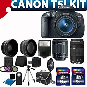 Canon EOS Rebel T5i 18.0 MP CMOS Digital Camera HD Video with EF-S 18-55mm f/3.5-5.6 IS STM Zoom Lens + EF 75-300mm f/4-5.6 III Telephoto Zoom Lens ++ 58mm 2x Professional Lens +High Definition 58mm Wide Angle Lens + Auto Flash + Wireless Remote +Uv Filter Kit with 24GB Complete Deluxe Accessory Bundle