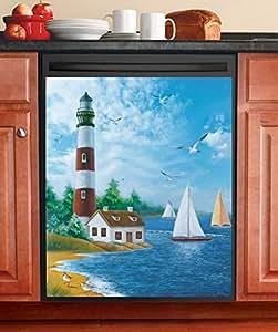 Nautical Lighthouse Dishwasher Magnet Cover Kitchen Dining