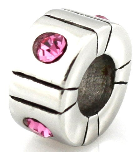 HEIRLOOM European Bead Pink Stones Fits Pandora by Island Imports And More