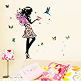 Alrens_DIY(TM)Angel Wings Beautiful Girl Flowers Butterfly DIY Wall Stickers Removable Home Decoration Living Room Bedroom Girl's Room Decor Décor adesivo de parede Self Adhesive Creative Art Mural Decorative Decal (Multi-color) (Color: Multi-color)