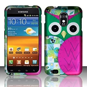 PINK PATCHED OWL Hard Plastic Design Matte Case for Samsung Epic Touch 4G Galaxy S II D710 (Sprint) / Samsung Galaxy S II R760 (U.S. Cellular) + Screen Protector + Car Charger  In Twisted Tech Packaging 