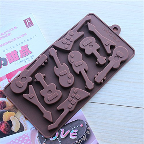 2015 Buttons Rose Spoon Guitar Dino Numbers Pig Chocolate Heart Shaped Silicone Mold for Chocolate, Jelly and Candy (guitars) (Dino Spoon compare prices)