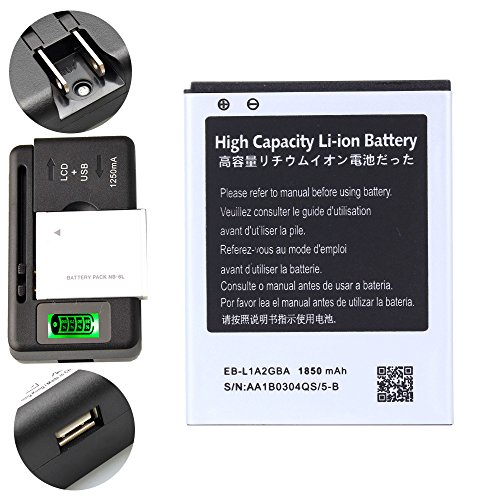High Capacity Samsung Galaxy S2 SGH-i777 Battery EB-L1A2GBA EB-F1A2GBU + Universal Battery Charger With LED Indicator For Samsung Galaxy S II SGH-i777 / Samsung Galaxy S II I9100 / Samsung Galaxy S2 SGH-i777 / Samsung Galaxy S2 I9100 1850 mAh (Samsung Galaxy S Ii S2 I777 compare prices)