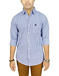 AA' Southbay Men's Blue Gingham Checks 100% Cotton Long Sleeve Casual Shirt