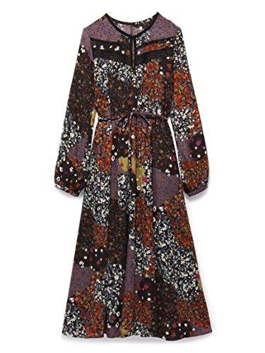 Lily Brown(リリーブラウン)フラワーパッチワークワンピース BLK F : 服&ファッション小物通販 | Amazon.co.jp