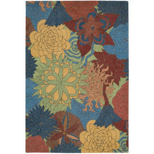 Nourison South Beach Indoor/Outdoor 8.0X10.6 Deep Sea Area Rug, 100% Polyester