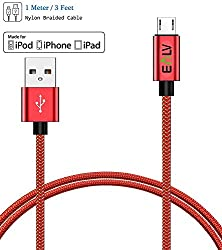 E LV (1m) Android USB Cable Premium Quality Designer Fast Charging and Durable Data USB Heavy Duty Cable - RED