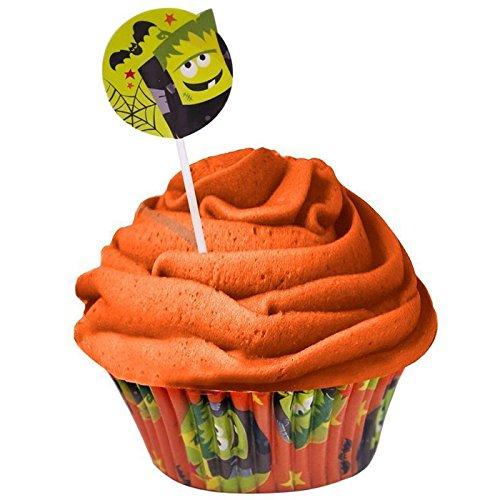 CostMad 24 Halloween Cupcake moldes para magdalenas con diseño de Cupcake Wrappers UNIDADES y carcasa de papel de horno juego de 24 adornos decorativos para fiestas infantiles