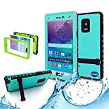 Note 4 Case,Galaxy Note 4 Waterproof Case,Nancy's Shop **New** Fashion [Kickstand Feature] IP-68 Waterproof Shock proof Snow proof Dust proof [Built-in Screen Protector] Rugged Hard Armor Protection Case Cover for Samsung Galaxy Note 4 IV with 1 Screen Protector and 1 Clean cloth (Teal)