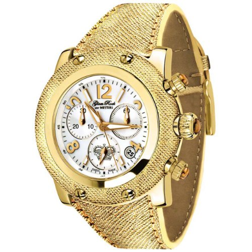 Glam Rock Women's GR10166 Miami Collection Chronograph Gold Leather Watch
