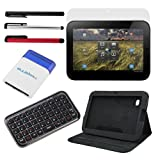 GTMax Black Premium Leather Folio Cover Case w/Stand + Premium Bluetooth Wireless Mini Keyboard + LCD Screen Protector + 3 Pack Stylus Pen ( Black+Silver+Red ) + Blue Mini Brush for Lenovo IdeaPad K1 10.1-Inch Android Tablet