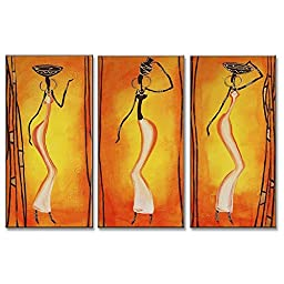 Neron Art - African Beauty Figure Oil Paintings Set of 3 Panels on Gallery Wrapped Canvas 30X26 inch (76X66 cm)