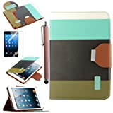 Pandamimi ULAK(TM) Smart Cover Blue+Black+Brown PU Leather Wallet Type Magnet Design Flip Cute Case For With Apple...