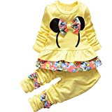 2pcs Kids Girls Round Neck Tracksuit Floral Pant Suit Outfit Child Clothes 0-4 Y (For 2-3 years(L), Yellow)