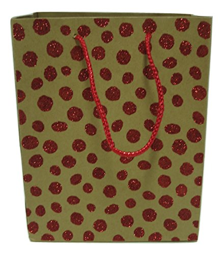 Style Design (TM) Dozen Gift Bags - 12 Beautiful Kraft Gift Bags for Presents, Parties or Any Occasion With Glitter Dots (Medium, (Navy Stripe Favor Cards)