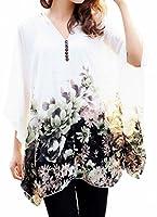 Bepei Batwing T-shirt Blouse Manches 3/4 Tops Bohême Imprime en Chiffon Femme Sans Débardeur