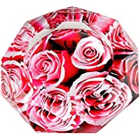 Kufox Crystal Cigarette Ashtray Ash Holder Case,Red Rose Pattern Home Office Tabletop Beautiful Decoration Craft