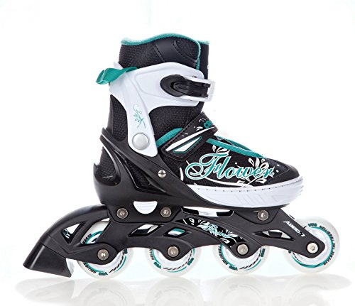 2in1-Schlittschuhe-Inline-Skates-Inliner-Croxer-Flower-BlackGreen-verstellbar