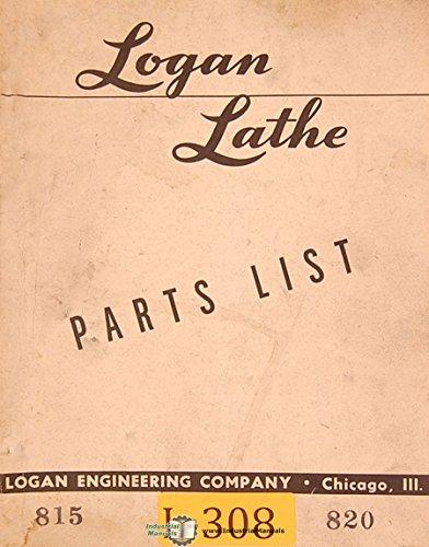 Logan 815 & 820, Lathe, Parts List Manual