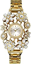 GUESS Yellow Gold-Tone Crystal Bouquet Watch