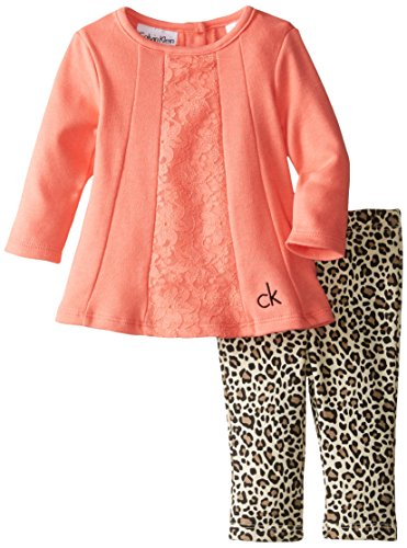 Calvin Klein Baby-Girls Newborn Tunic with Animal Print Leggings, Coral, 3-6 Months