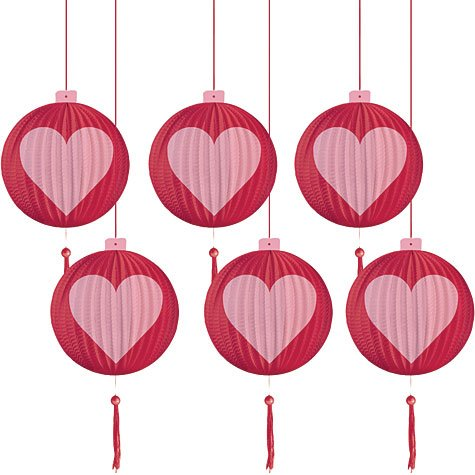 Valentine's Day Mini Lantern 4in Hanging Decorations 6ct