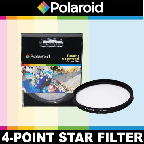 Polaroid Optics Rotating 4 Point Star Filter For The Sony NEX-VG10, NEX-VG20 Handyman Camcorder With 18-200mm Lens