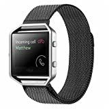SUPTG Black Milanese Magnetic Luxe Band Loop For The New FITBIT BLAZE Fitness Watch Smart Watch