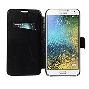 Armor Leather Slim Flip Case With Magnetic Closure Flip Cover For Samsung Galaxy E7 -Black