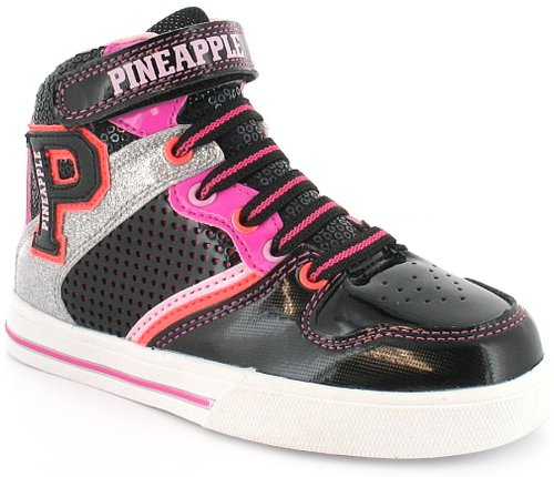 New Girls/Childrens Black Pineapple Lace Up Basketball Boots/Trainers - Black/Multi - UK 10