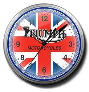 "Amazon.com: Triumph Motorcycles British Flag Neon Wall Clock 20"" Made"