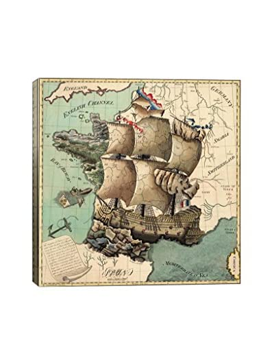 Antique-Inspired Map Of France Gallery Wrapped Canvas Print