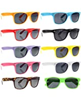 grinderPUNCH® Wayfarer Sunglasses 10 Bulk Pack Lot Neon Color Party Glasses Wholesale