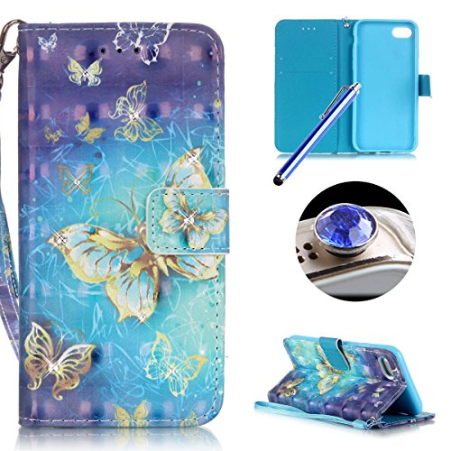 """iPhone 7 Bling Wallet Case,iPhone 7 Diamond Case,Etsue Elegant Gold Butterfly Rhinestone Pattern Pu Leather Strap Wallet Glitter Magnetic Book Style Card Slots Flip Case Cover with Stand for iPhone 7 4.7""""+Blue Stylus Pen+Bling Glitter Diamond Dust Plug(Colors Random)-Glitter,Gold Butterfly"""