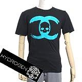 (ハイドロゲン) HYDROGEN メンズ シャネルモチーフCCスカルロゴ Tシャツ 0B50280 F5 ブラック×ブルー [並行輸入品]