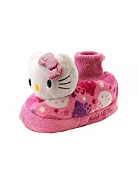 Hello Kitty Toddler Girl's Pink Plush Fleece Bootie Slippers Shoes