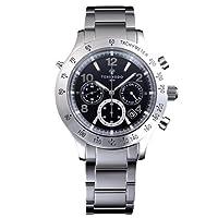 [ソーラーウェーブクロノ 黒文字盤・ステンレスベルト]Solar Wave Chrono ・Black ・SS Bracelet 腕時計 ソーラー電波 SWC01SS メンズ