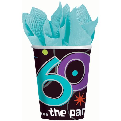 Amscan The Party Continues 60th Birthday Celebration Cups, 9 oz, Black/Purple/Teal