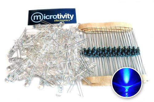 Microtivity Il441 5Mm Clear Blue Led W/ Resistors (Pack Of 100)