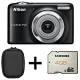Nikon Coolpix L25 Digital Camera - Black + Case and 4GB Memory Card(10.1MP, 5x Optical Zoom) 3 inch LCD