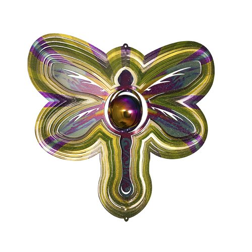 Iron Stop Gazing Ball Dragonfly Wind Spinner