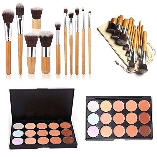 ESYN Kit Professionnel 15 Palette Correcteur de couleur réglée avec 11pcs Bamboo Brush Crème Visage Maquillage Contour