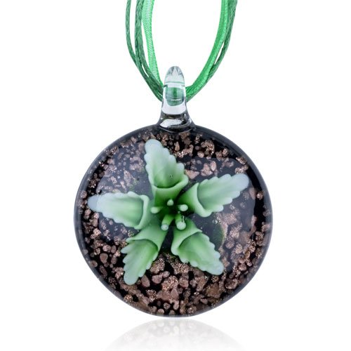 Pugster Murano Glass Green Flower Black Round Dichroic Pendant Necklace Gemstone
