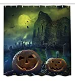Ambesonne Halloween Decorations Collection, Pumpkin in Spooky Graveyard in Old Stone Haunted House in Gloomy Dark Night, Polyester Fabric Bathroom Shower Curtain Set with Hooks, Grey Yellow