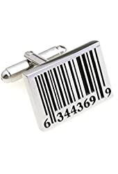 Bar Code Cufflinks - Black and Silver - Men